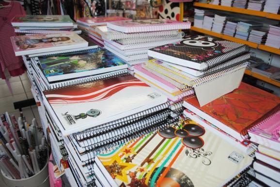 Cadernos, livros, material escolar